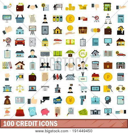 100 credit icons set in flat style for any design vector illustration