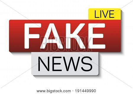Fake news banner with shadow isolated on white background. Banner design template. Vector illustration