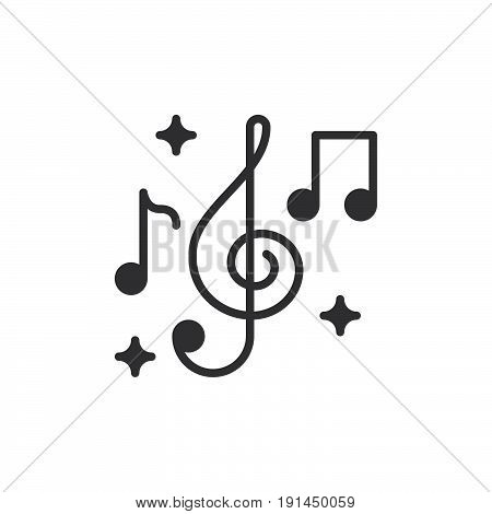 Treble clef and music notes icon vector filled flat sign solid pictogram isolated on white. Music symbol logo illustration. Pixel perfect