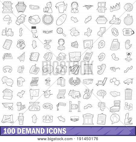 100 demand icons set in outline style for any design vector illustration