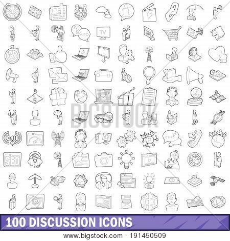 100 discussion icons set in outline style for any design vector illustration
