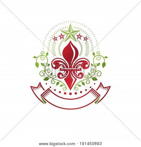 Retro vintage Insignia created with lily flower and pentagonal stars. Vector design element organic natural product emblem best quality design element.