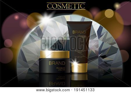 Black Diamond Cosmetic Ad Design Template. Dark Golden Skin Care Package Chrystal Tube Glass Reflect