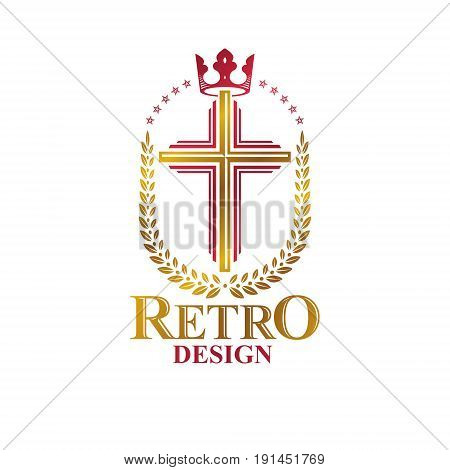 Christian Cross golden emblem created with royal crown and laurel wreath. Heraldic Coat of Arms decorative logo isolated vector illustration. Religion and spirituality theme symbol.