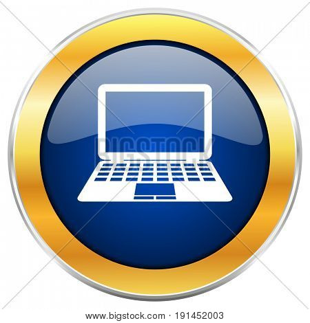 Computer blue web icon with golden chrome metallic border isolated on white background for web and mobile apps designers.