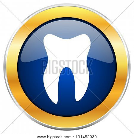 Tooth blue web icon with golden chrome metallic border isolated on white background for web and mobile apps designers.