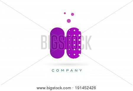H Pink Dots Letter Logo Alphabet Icon