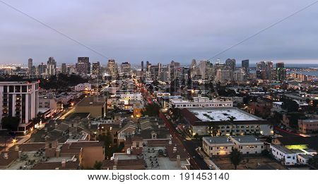 SAN DIEGO, CALIFORNIA, JUNE 9. Downtown San Diego on June 9, 2017, in San Diego, California. An Aerial View of Downtown Taken Atop Mr. A's Restaurant Building in Bankers Hill in San Diego, California.
