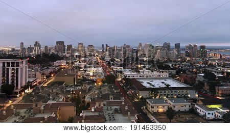 An Aerial View of Downtown Taken Atop Mr. A's Restaurant Building in Bankers Hill in San Diego California.