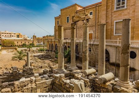 Roman Cardo Maximus ruins in Beirut capital city of Lebanon Middle east