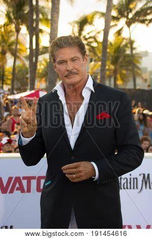 MIAMI, FL - MAY 13, 2017: David Hasselhoff arrives at the premiere of Baywatch the movie on May 13, 2017, in Miami Florida.
