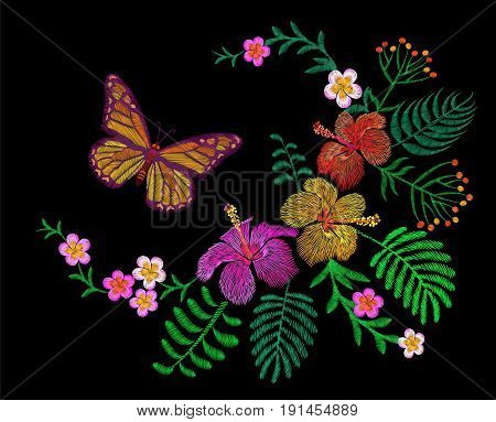 Hawaii Flower Embroidery Arrangement Patch. Fashion Print Decoration Plumeria Hibiscus Palm Leaves.