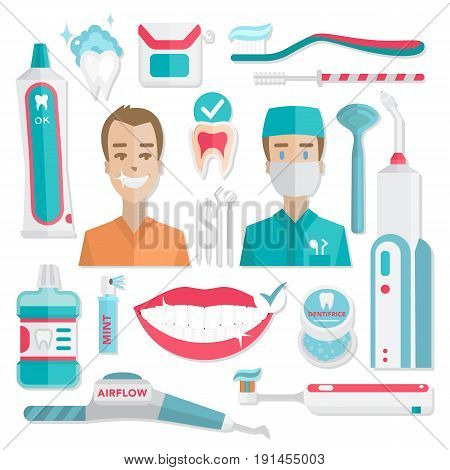 Medical teeth hygiene infographic. Dentist and patient with tools and instruments. Vector dental care flat illustrations and icons.