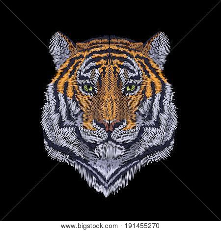 Tiger Head Noble Staring. Front View Embroidery Patch Sticker. Orange Striped Black Wild Animal Stit