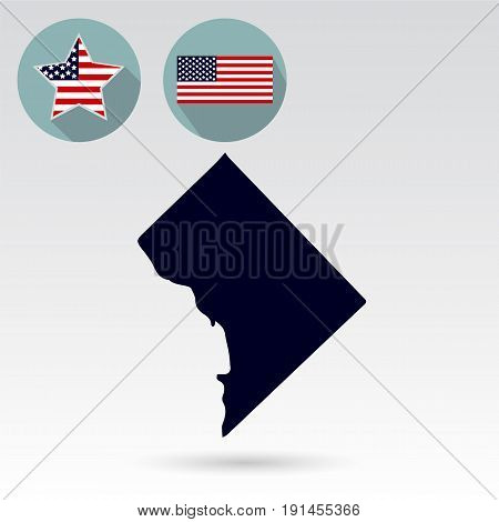 Columbia State Map, American flag, star. Icons on a white background.