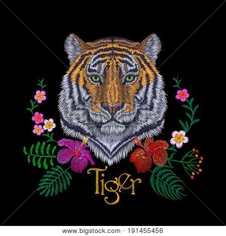 Tiger Head Tropic Flower. Front View Embroidery Patch Sticker. Orange Striped Black Wild Animal Stit
