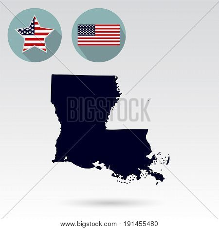 Map of the U.S. state of Louisiana on a white background. American flag, star.