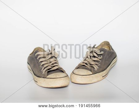 Dirty Shoe On Isolate White Background , Close Up Shoe,dirty Blue Shoes On The White Background , Ca