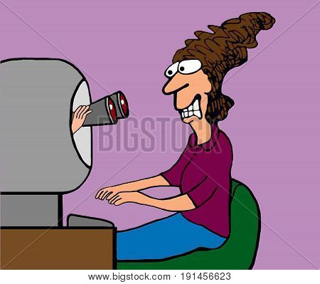 Business cartoon illustration of binoculars coming out of the computer screen and staring at the computer user.