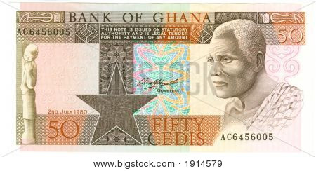 Old paper banknote money Ghana cedis fifty poster