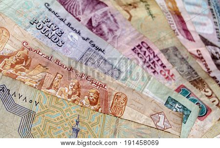 A fan of Egyptian banknotes ranging from 25 piastres to 100 pounds. Used banknotes photographed at an angle.