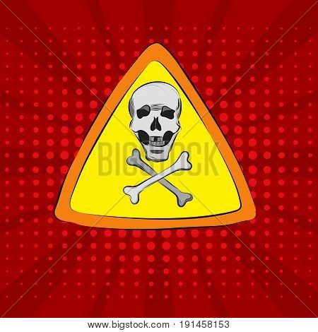Pop art on a red background with a skull and bones sign of accessibility
