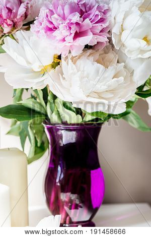 Fresh Bunch Of Pink And White Peonies