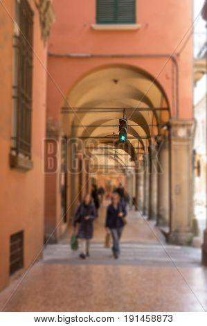 Pedestrian traffic light under the Bologna gallery