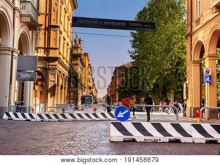 Bologna Italy - April 22 2017: Counterterrorism barriers on Bologna's main street on a regular day