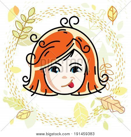 Vector illustration of beautiful red-haired happy girl face positive face features clipart. Teenager making funny grimace.