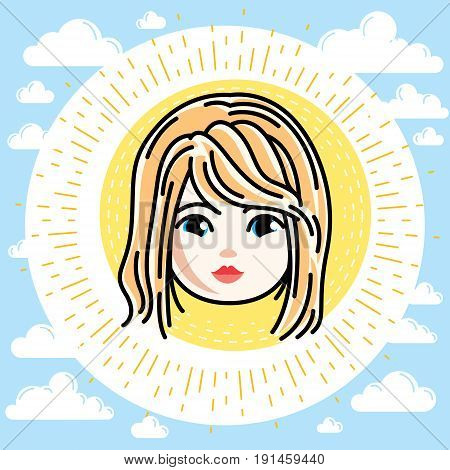 Vector illustration of beautiful blonde girl face positive face features clipart.