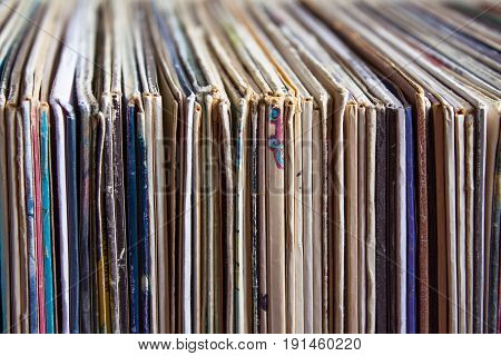 Old vinyl records, collection of albums, vintage process