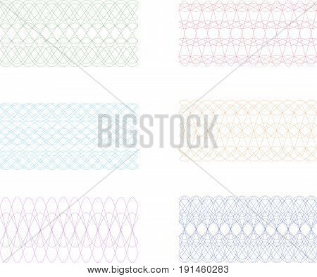 Set of Simple Guilloche Seamless Border or  Frieze