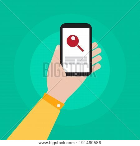 hand holding smartphone with research icon illustration