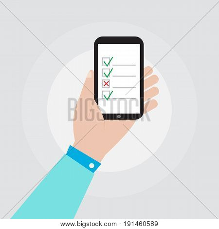 hand holding smartphone with checklist icon vector illustration