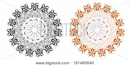 Beautiful abstract round pattern black and red yellow. Vector illustration