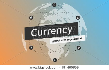 Globe and money icon. Abstract sign currency exchange flat design. Illustration. Editable eps10 Vector. Transparent background.