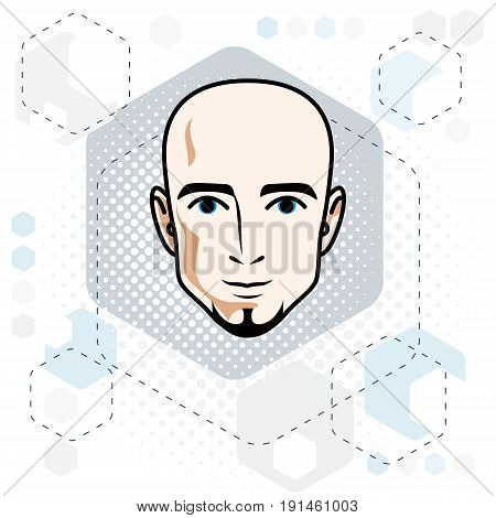 Caucasian man face vector human head illustration. Attractive hairless male with beard hipster