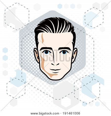 Man face human head. Vector character handsome brunet male with stylish haircut.