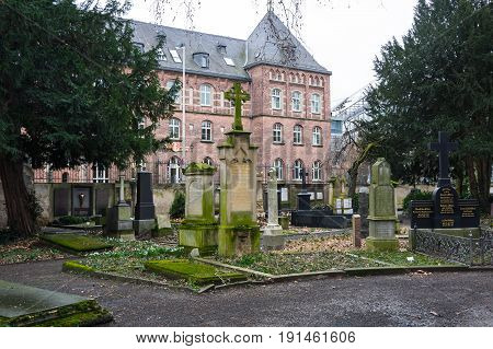 BONN GERMANY - FEBRUARY 21 2016: Old cemetery in Bonn a city on the banks of the Rhine in the German state of North Rhine-Westphalia Germany
