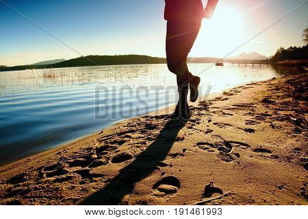 Tall Man In Sportswear At Amazing Sunset In Sport And Healthy Lifestyle Concept And Jogging Cross Co