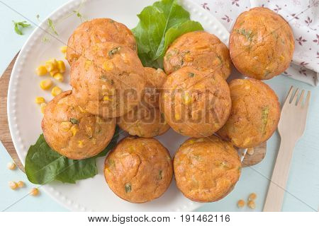 Savory muffins with corn, cheese and pepper.