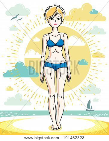Attractive young blonde woman standing on tropical beach and wearing blue bathing suit. Vector human illustration. Summer vacation theme.