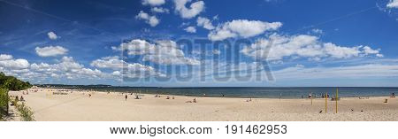 picturesque panoramic landscape of baltic sunny beach in gdansk oliwa in the summer, poland