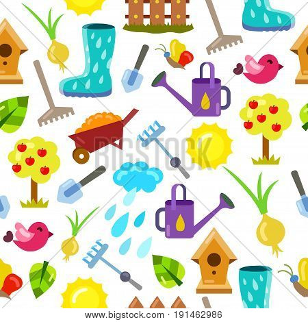 Seamless pattern with gardening objects. Instruments for horticulture plants and trees on dark background. Endless texture for wallpaper fill web page background surface texture.