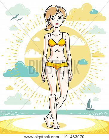 Happy young blonde woman posing on tropical beach and wearing swimsuit. Vector attractive female illustration. Summer vacation lifestyle theme cartoon.