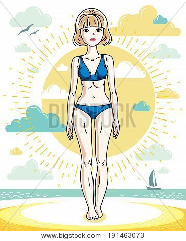 Attractive young blonde woman posing on tropical beach and wearing blue bikini. Vector nice lady illustration. Summertime theme clipart.
