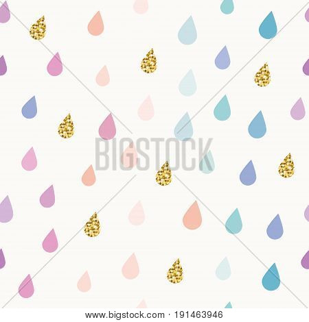 Watercolor drops seamless pattern background with gold glitter elements. vector
