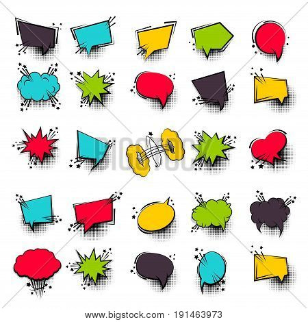 Funny set 25 comic book cartoon text dialog, colored empty cloud. Sale banner. Abstract creative hand drawn vector colorful blank bubble. Comic speech balloon on halftone dot background pop art style