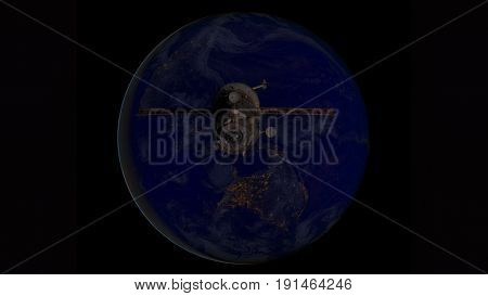 Spacecraft Progress Orbiting The Earth.